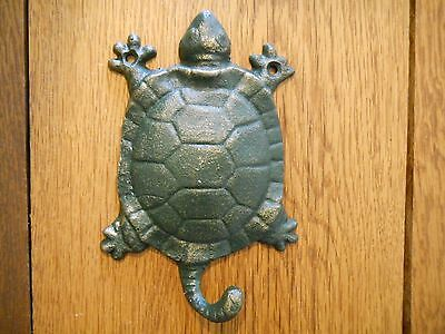 3 Cast Iron Antique Style Nautical TURTLE Coat Hooks Hat Hook Rack Towel Sea