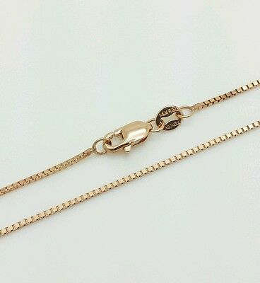"14k Solid Rose Gold Box Link Necklace Pendant Chain 18"" .8mm"