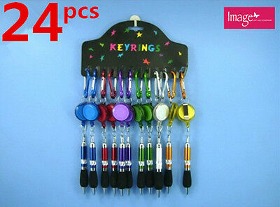 24pcs Key Ring Pen & Retractable Cord | Stationery Writing Equipment (14227x24)