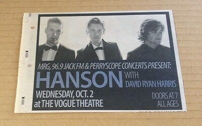 2013 Hanson in Vancouver CANADA concert ad / newspaper clipping cutting photo