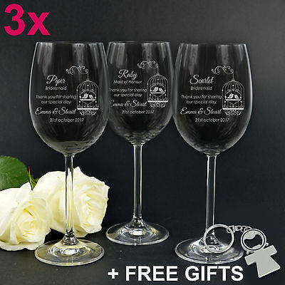 3x Engraved Wedding Wine Glasses 360ml Favour Bomboniere Bridesmaid Bridal Party