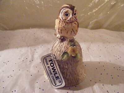 Vintage Towle Bone China Hand Bell With Owl Handle