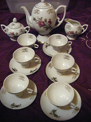Vintage 1960;s Porcelain Japan 16pc Tea Set Moss Rose Designed Trimmed in Gold