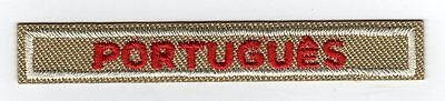"""Portugues Award Strip, Red on Tan, """"Since 1910"""" Backing"""