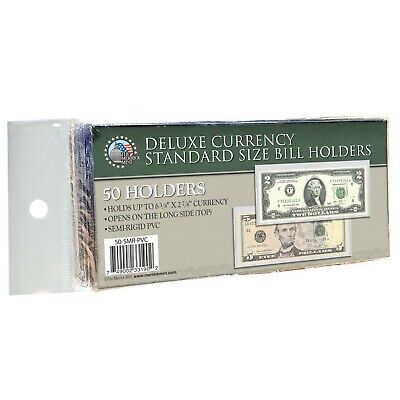 50 Regular Bcw Deluxe Pvc Currency Sleeve Bill Holders Paper Money Semi Rigid