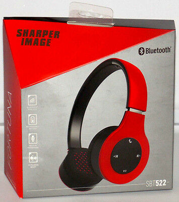 Sharper Image Red Universal Bluetooth Wireless Stereo Headphones