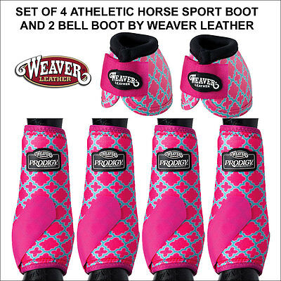 Set Of 4 Pink Quatrefoil Athletic Horse Leg Boot And 2 No Turn Bell Boots Weaver