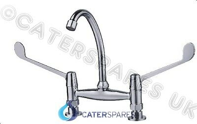 "Commercial Catering Kitchen Sink Twin Feed Hot & Cold  Mixer Lever Tap 7"" Centre"