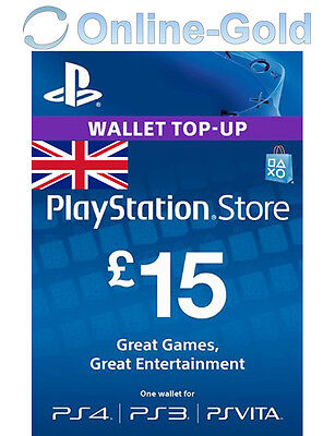 PSN Card UK 15 Pound WALLET Card - PlayStation Network £15 GBP Code Key - UK