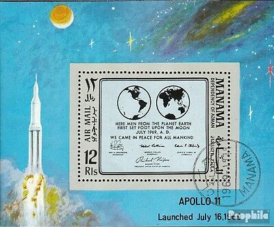 Manama Block41A fine used / cancelled 1969 Apollo 11