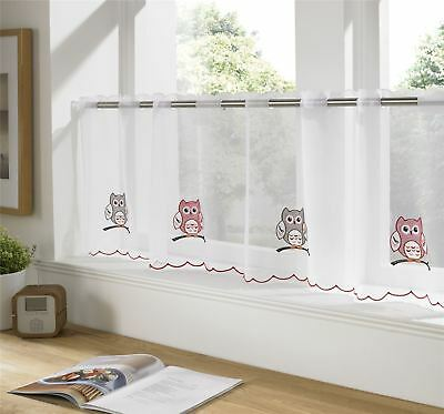 "Owls Red Silver White Restaurant Kitchen Cafe Curtain Drape Panel 59"" X 18"""