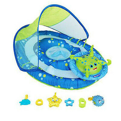 SwimWays Corp. Baby Spring Float Activity Center Blue Green Canopy 11601-BL