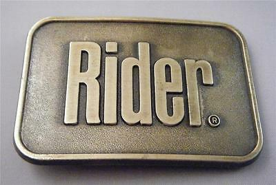 "Vtg Horse Motorcycle Bull RIDER Jeans Burnished Brass Metal 1.5"" Belt Buckle NIP"