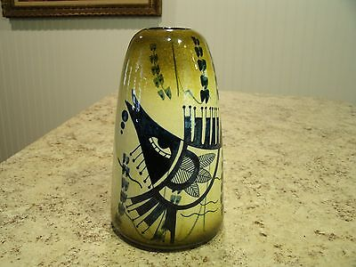 Very Unique Vintage Hand Made / Painted Signed Fish Design Pottery Vase Portugal
