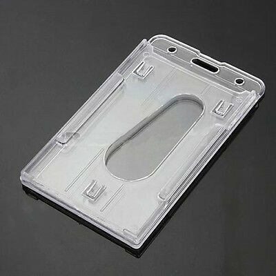 Card Multi Hard Plastic Horizontal Holder Transparent Clear Badge ID Cover NEW