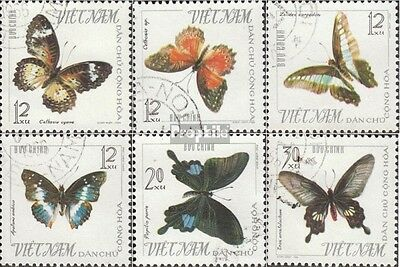 Vietnam 405-410 (complete issue) used 1965 Butterflies