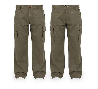 Fox NEW Chunk Carp Fishing Heavy Twill Khaki Cargo Pants *All Sizes*