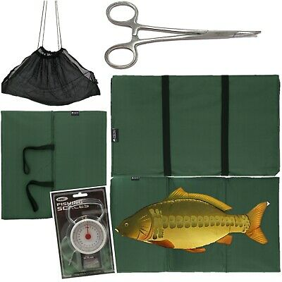 "CARP FISHING UNHOOKING LANDING MAT + 50LB SCALES 5"" Curved Forceps + Black Sling"