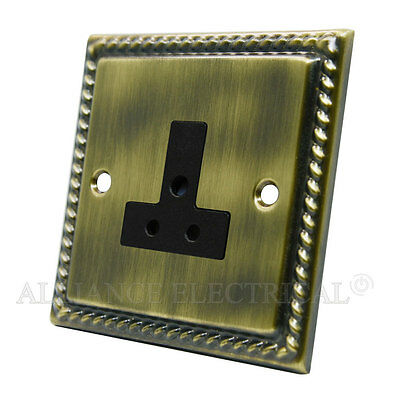 Georgian Antique Brass 5 Amp / 2Amp Socket - Round Pin Unswitched Outlet Point