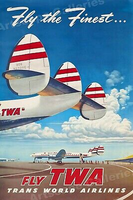 Fly The Finest - Fly TWA 1950's Vintage Style Travel Poster - 20x30