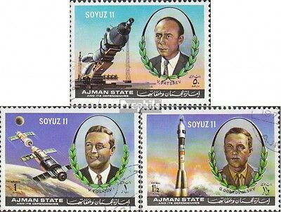 Ajman 1264A-1266A (complete issue) used 1972 accident Cosmonaut