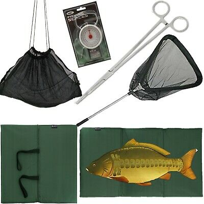 "FISHING UNHOOKING MAT + Folding Landing Net + 50LB SCALES + 10"" Forceps + Sling"