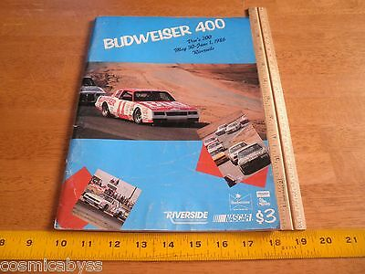 1986 Budweiser 400 NASCAR auto racing program Darrell Waltrip win Riverside CA