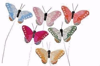 """24 3"""" Artificial Feather Butterfly Craft Fake Floral Wedding Butterflies BF722"""