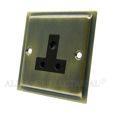 Slimline Antique Brass 5 Amp / 2 Amp Socket - Round Pin Unswitched Outlet Point
