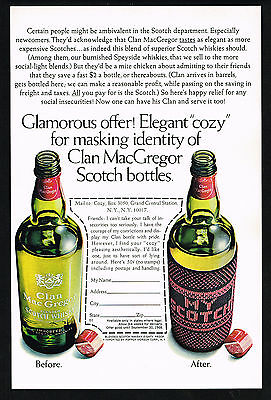1967 Clan MacGregor Scotch Cozy Bottle Cover Photo Vintage Print Ad
