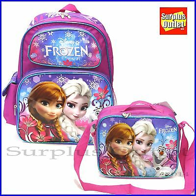 "Frozen Backpack Disney Elsa Anna 16"" Large School Backpack Lunch bag  2pcs set"