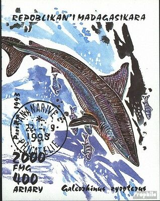 Madagascar block210 (complete issue) used 1993 Sharks