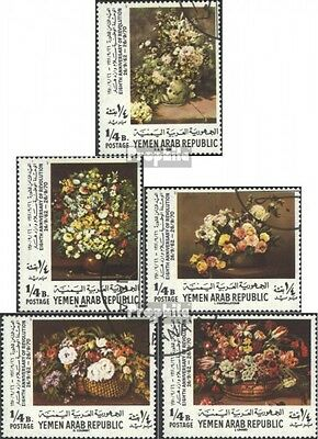 North Yemen 1223A-1227A (complete issue) used 1970 Flowers - St