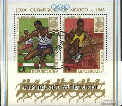 Burundi block29a (complete issue) used 1968 olympic. Summer