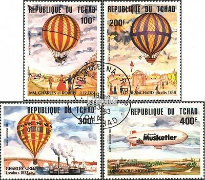 Chad 962-965 (complete issue) used 1983 200 years Aviation