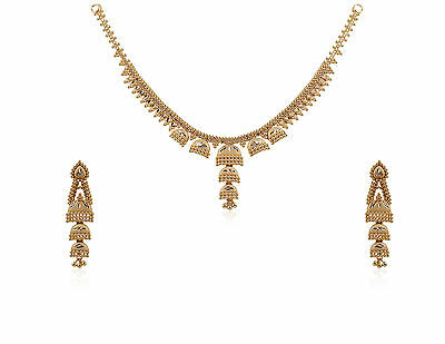 Gorgeous Wedding Bridal Dubai Necklace Earrings Set In Solid 18K Yellow Gold