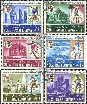 Ras al Khaimah 203A-208A (complete issue) used 1967 olympic. Su