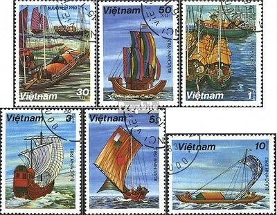 Vietnam 1285-1290 (complete issue) used 1983 Sailboats