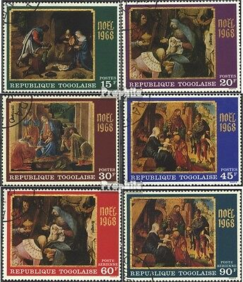 Togo 679A-684A (complete issue) used 1968 christmas - Famous Pa