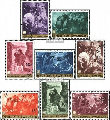 Rwanda 218A-225A (complete issue) used 1967 Famous Paintings
