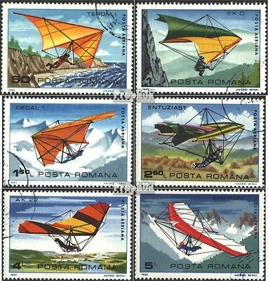 Romania 3880-3885 (complete issue) used 1982 hang gliding