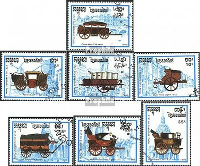 Cambodia 1067-1073 (complete issue) used 1989 Stagecoach