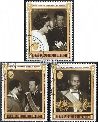 Burundi 673A-675A (complete issue) used 1970 Visit Queen+King b