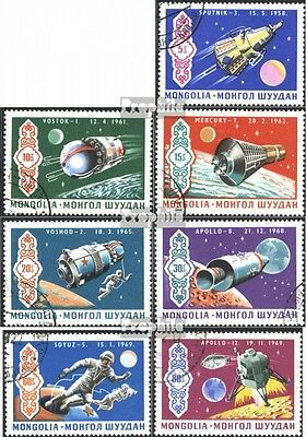 Mongolia 570-576 (complete issue) used 1969 Apollo 12