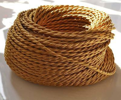 Glod Antique Braided/woven Silk/fabric Lamp Cable/wire/cord Light/electric Flex