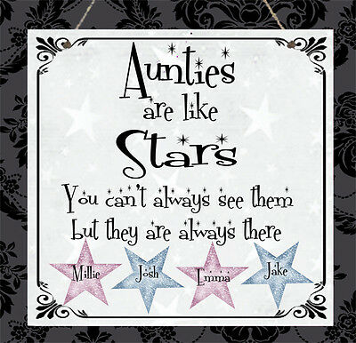 Personalised Family Plaque Auntie Sister Brother Cousin Stars Birthday Gift