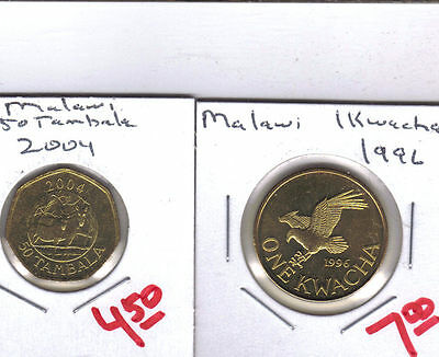 From Show Inv. -  2 UNC. COINS from MALAWI - 2004 50 TAMBALA & 1996 1 KWACHA