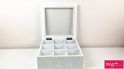 2x 9 Compartments Wooden Tea Storage Box Glass Top Container Chest Square 1774x2