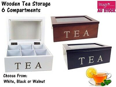 Elegant Rectangle 6 Compartments Wooden Tea Box with Glass Top Kitchenware 2573