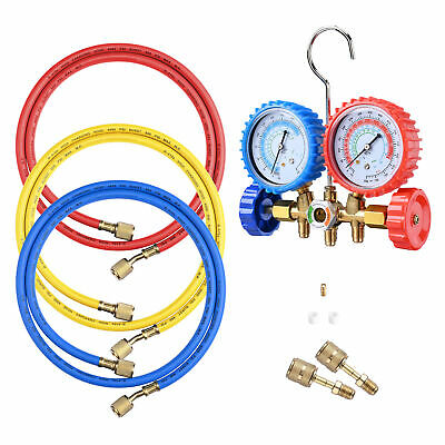 Refrigerant 2-Valve R410a Manifold Gauges 60 Hoses HVAC AC Detection Tools